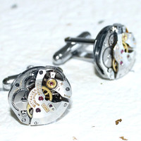 Wittnauer Men Steampunk Cufflinks - Rare Silver Vintage Watch Movement - Men Steampunk Cufflinks / Cuff Links - Christmas Gift for Him