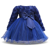 Baby Dresses 2017 Autumn New Baby Girls Clothes Lace Bow Tie Tutu Baby Princess Dress Cute Long Sleeves Kids New Year Clothing