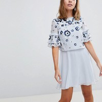 Frock And Frill Petite Premium Embellished Mini Tiered Skater Dress at asos.com
