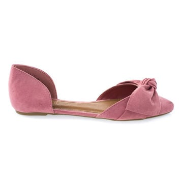 Sequel88S Mauve By Bamboo, Women's Slip On Pointed Toe D'Orsay Double Open Shank Flat w Bow