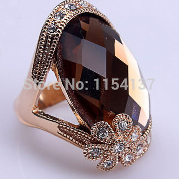 Green 9 Free shipping high quality elegant engagement ring real gold plated brown glass gold rings for women