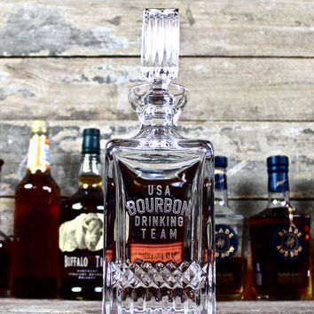 USA Bourbon Drinking Team Crystal Decanter