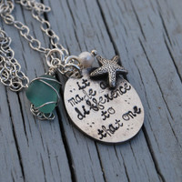 It Made A Difference To That One--Fine Silver--Starfish Poem Necklace