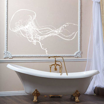 Jellyfish Wall Decal, Jellyfish Wall Sticker, Jellyfish Bathroom Wall Decor Art , Sea Life Wall Decor, Beach House Decor, Marine Life se035