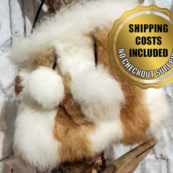 Shoulder Bag / Pouch - 100% Naturel Genuine Rabbit Fur