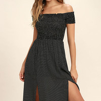 Late Nights Black and White Polka Dot Off-the-Shoulder Dress