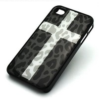 BLACK Snap On Case IPHONE 4 4S Plastic Cover - SNOW CROSS LEOPARD cheetah cougar lion camo white:Amazon:Cell Phones & Accessories