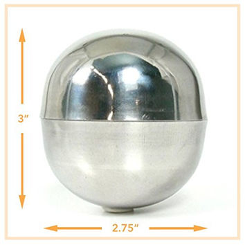Bath Bomb Mold - Stainless Steel, Extra-large Size (2 pieces), Lush Size, 2.75 Diameter, 7.5 oz Capacity, Make Professional Bath Bombs. U.S. Seller!