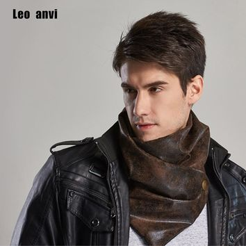 leo anvi 2017 warm men scarf luxury brand winter infinity bandana designer Leather and cotton type tube shemagh pattern shawls