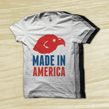 Made In America - fourth of july shirt, american flag, bald eagle, america tank top, america shirt, usa shirt, red white and blue,