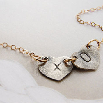 XO kiss hugs Initials necklace personalized initial oxidized silver heart, couple kids two initials necklace Heart Jewelry Valentines