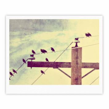 "Sylvia Coomes ""Vintage Birds On A Wire 2 "" Yellow Digital Fine Art Gallery Print"