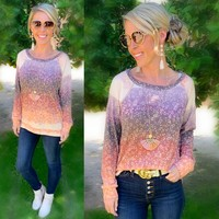 Ombre Floral Waffle Top