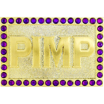Gold with Purple Gem BLINGED out PIMP Belt Buckle