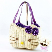 Purple Hello Kitty Straw Bag