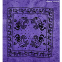 Purple Elephant Tie Dye Hippie Tapestry Wall Hanging Bed Cover on RoyalFurnish.com
