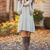Show Me Your Stripes Long Sleeve Shift Dress (Oatmeal & Olive)