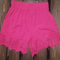 Pink Shorts with Lace Trim