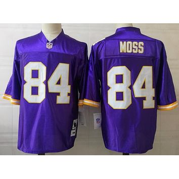 Minnesota Vikings #84 Randy Moss Throwback Football Jerseys Purple