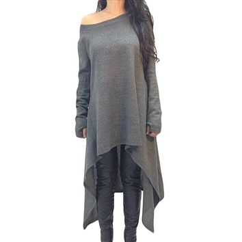 Gray Asymmetric Hemline Long Sleeve Oversize Sweater