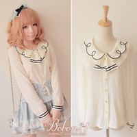 BOBON21 fall new wildcard easy to take well-behaved temperament embroidery chiffon shirt tie removable T0855-Taobao
