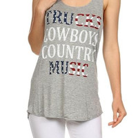 Trucks, Cowboys, Country Music Tank Top, Heather Grey