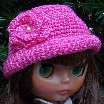 Blythe Doll, Hot Pink Hat, Doll Fashion, For Dolls, Hats for Dolls, Crochet Hat, Doll Clothes, Fun Accessories for Dolls, Miniature Brim Hat
