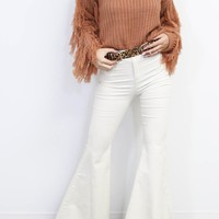 Special Kind Cream Distressed Flares