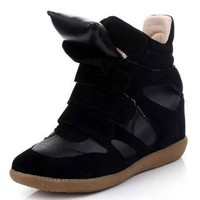 Paneled Wedge Sneakers - OASAP.com