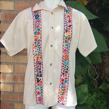 Men Guayabera Cream with Mutlicolor Embroidery