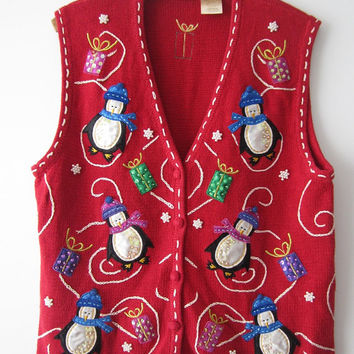 Red Knitted Christmas Vest Embroidered Penguin Colorful Knit Women Waistcoat Button Up Christmas Ugly Sweater Party Cardigans Large Size