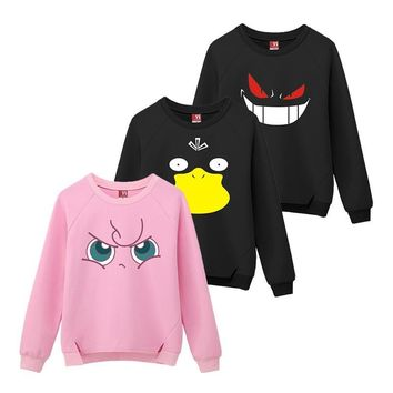 3 Types Pikachu Monster Pullovers Women Cotton Jigglypuff Gengar Psyduck Sweatshirts  Cartoon O-Neck Long Sleeve PulloverKawaii Pokemon go  AT_89_9