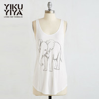 new summer Western Style Fashion cute loose print Elephant sleeveless O-neck SML XL XXL white Woman's Casual long Tank top