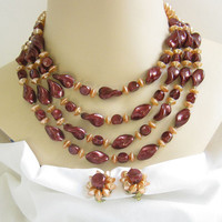 Vintage 4 Strand Apricot and Maroon Lucite Beaded Necklace and Earring Demi Parure Set signed Hong Kong