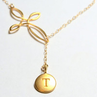 Personalized Cross Lariat Necklace with Initial Letter in gold, Y necklace, thread through simple dangle monogram