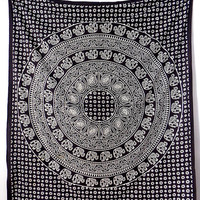 LARGE WALL FABRIC Black Mandala Elephant Throw Wall Hanging Boho Mandala Tapestry Bed Bedspread Hippie Bohemian Decor Art - FabricSarmaya