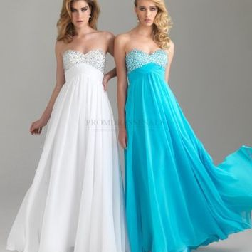 A-line Sweetheart Long White Crystal Prom Dress