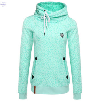 Embroidered Women Hoodies Sweatshirts Leopard Print Set Pullover Women Tracksuits Sudaderas Mujer 2016 9z