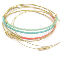 Seed Bead Bangle Bracelets // Set of 7 // Thin Gold Bangle Bracelets // Handmade Eco-Friendly Jewelry // Coral Mint Turquoise // Women Gift
