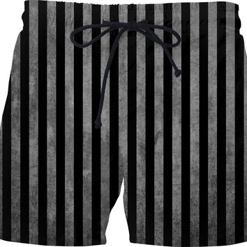 Beetlejuice suit like swim pants, black and white vertical stripes pattern, halloween style