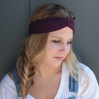Plum Purple Summer Turban Twist Boho Headband