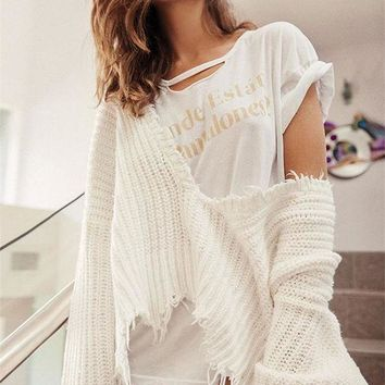 ESBON Fashion Personality Tassel Deep V-Neck Loose Long Sleeve Solid Color Sweater Women Short Knitwear Tops