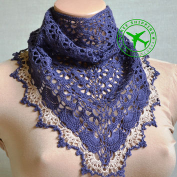 Crochet bandana. Blue kerchief. Lacy neckerchief. Bohemian neckerchief. Linen yarn kerchief. Boho bandana. Summer wraps. Eco neckerchief.