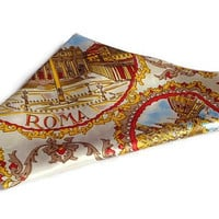Vintage Roma Souvenir Scarf . Rome, Italy . Red, Blue and Gold Square Scarf .
