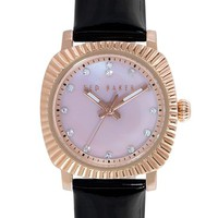 Women's Ted Baker London 'Mini Jewels' Crystal Index Patent Leather Strap Watch, 26mm - Black/ Rose Gold