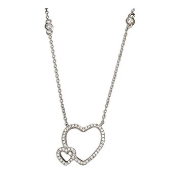 Sterling Silver Micro Pave and Bezel Set Cubic Zirconia Double Open Hearts Necklace