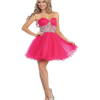 Fuchsia Strapless Sweetheart Beaded Chiffon Dress 2015 Homecoming Dresses