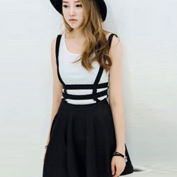 Black Strappy Suspender Skater Dress