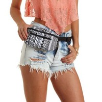 Black/White Tribal Print Canvas Belt Bag by Charlotte Russe