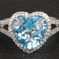 Heart Shaped Blue Topaz and Diamonds Engagement Ring, Halo,14k White Gold